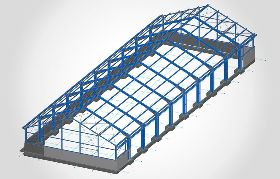 Neubau einer Halle - 60 m x 19,6 m x 9,5 m - NEUTRO Zeichnungsbüro