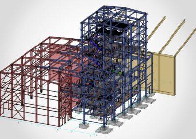 Anbau einer Industriehalle (blau)