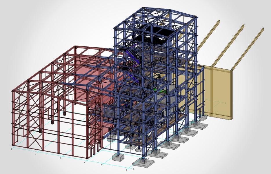 Anbau einer Industriehalle (blau) - NEUTRO Zeichnungsbüro