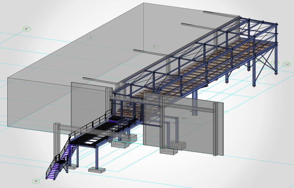 Stahlkonstruktion für Palettenförderanlage - NEUTRO Zeichnungsbüro
