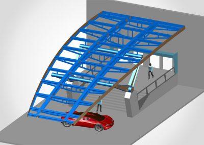 Gebogenes Vordach – Länge ca. 25m